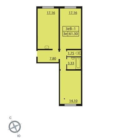 Планировка Двухкомнатная квартира площадью 61.3 кв.м в ЖК «Шуваловский»