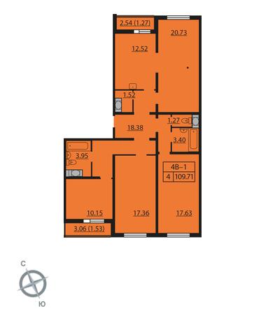 Планировка Четырёхкомнатная квартира площадью 109.71 кв.м в ЖК «Шуваловский»