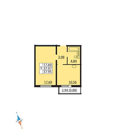 Планировка Однокомнатная квартира площадью 37.95 кв.м в ЖК «Шуваловский»