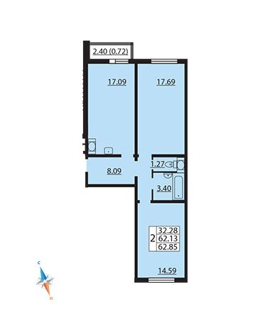 Планировка Двухкомнатная квартира площадью 62.85 кв.м в ЖК «Шуваловский»