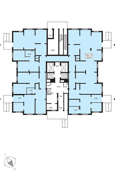 Планировка Коммерческое помещение площадью 405.64 кв.м в ЖК «Шуваловский»