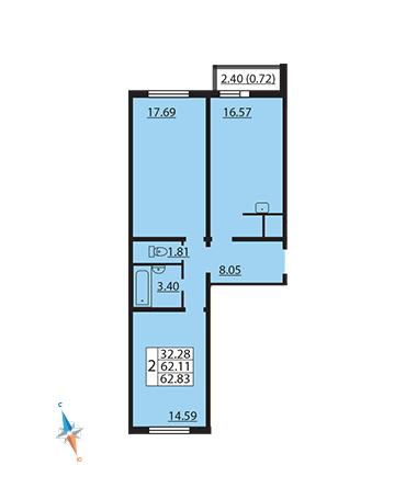 Планировка Двухкомнатная квартира площадью 62.83 кв.м в ЖК «Шуваловский»