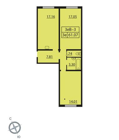 Планировка Двухкомнатная квартира площадью 61.07 кв.м в ЖК «Шуваловский»