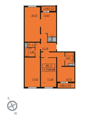 Планировка Четырёхкомнатная квартира площадью 108.68 кв.м в ЖК «Шуваловский»