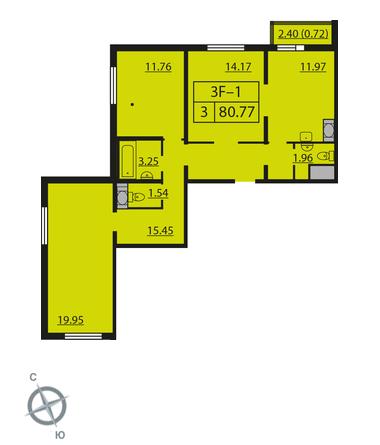 Планировка Трёхкомнатная квартира площадью 80.77 кв.м в ЖК «Шуваловский»