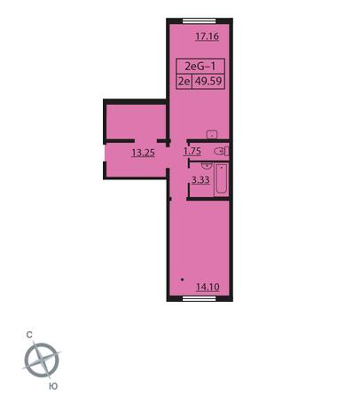 Планировка Однокомнатная квартира площадью 49.59 кв.м в ЖК «Шуваловский»