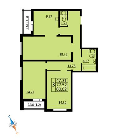 Планировка Трёхкомнатная квартира площадью 80.02 кв.м в ЖК «Шуваловский»
