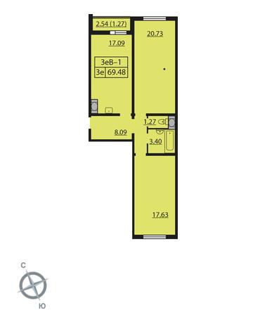 Планировка Двухкомнатная квартира площадью 69.48 кв.м в ЖК «Шуваловский»