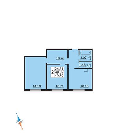 Планировка Двухкомнатная квартира площадью 49.89 кв.м в ЖК «Шуваловский»
